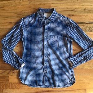 RAG AND BONE Blue Check Button Down Shirt M